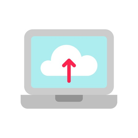 Cloud upload vector, Social media flat design icon Ilustração