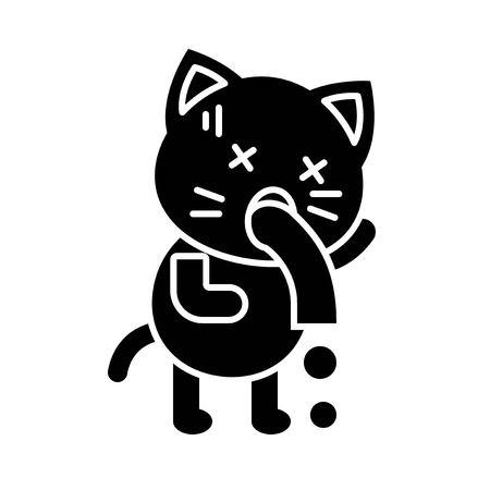 Cute Cat avatar vector illustration, solid style icon Illustration