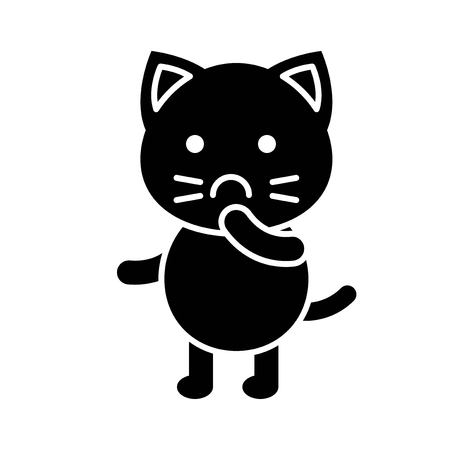 Cute Cat avatar vector illustration, solid style icon Ilustrace