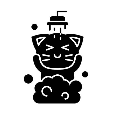 Cute Cat avatar vector illustration, solid style icon 向量圖像