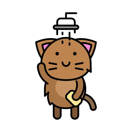 Cute Cat avatar vector illustration, filled style icon editable stroke 向量圖像
