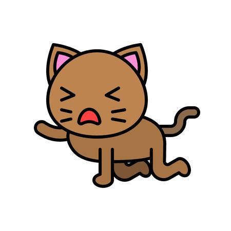 Cute Cat avatar vector illustration, filled style icon editable stroke Ilustrace