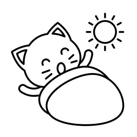 Simpatico gatto avatar illustrazione vettoriale, tratto modificabile icona stile linea