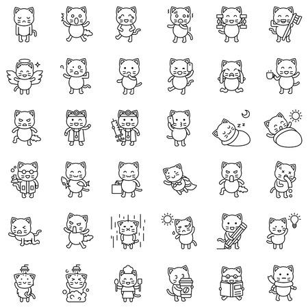 Cute Cat avatar vector set, line style icon
