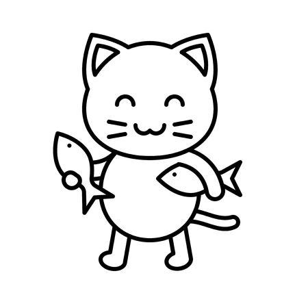 Cute Cat avatar vector illustration, line style icon editable stroke Ilustração