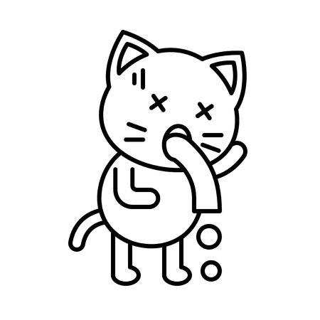 Cute Cat avatar vector illustration, line style icon editable stroke Illustration