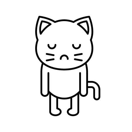 Cute Cat avatar vector illustration, line style icon editable stroke