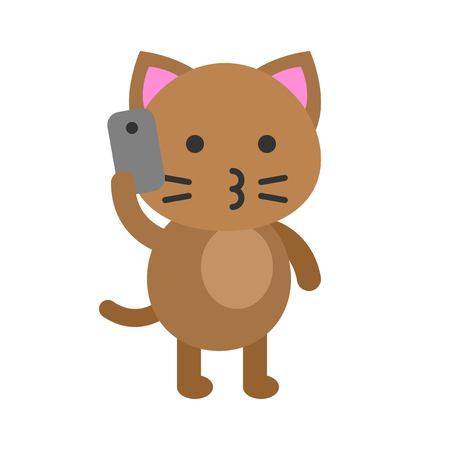 Ilustración de vector de avatar de gato lindo, icono de estilo plano