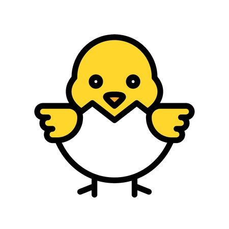 Chick vector, Easter filled style icon editable stroke