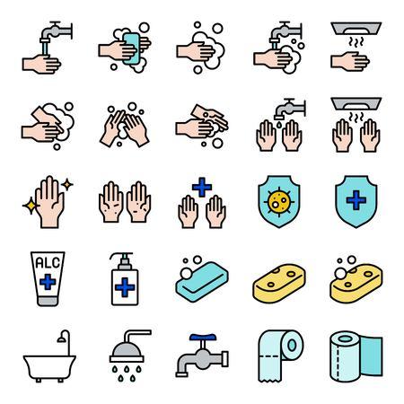 Ensemble de vecteur d'hygiène de salle de bains, course modifiable d'icône remplie