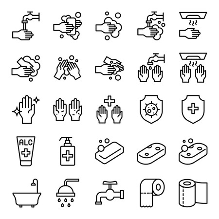Bathroom Hygiene vector set, line design icon