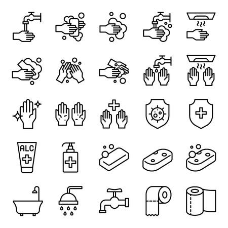 Ensemble de vecteurs d'hygiène de salle de bains, icône de conception de ligne