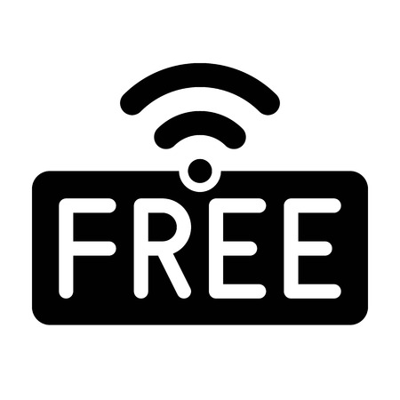 Icono de logotipo de WiFi gratuito, ilustración de vector de red de área local inalámbrica