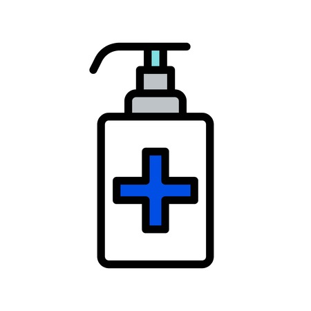Hand sanitizer vector, Hygiene filled style icon editable stroke