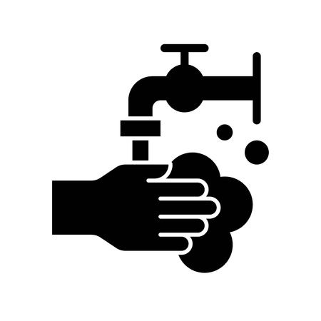 Hand washing vector illustration, Hygiene solid design icon