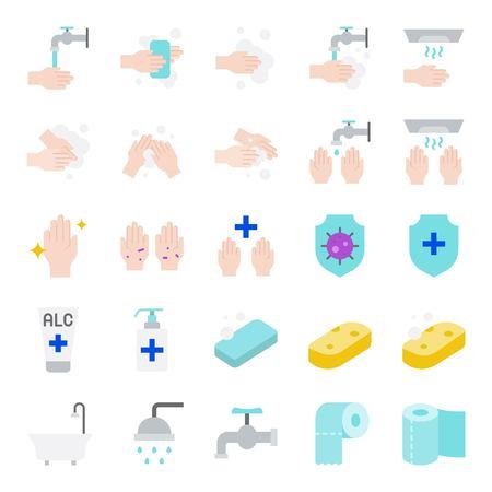 Insieme di vettore di igiene del bagno, icona del design piatto