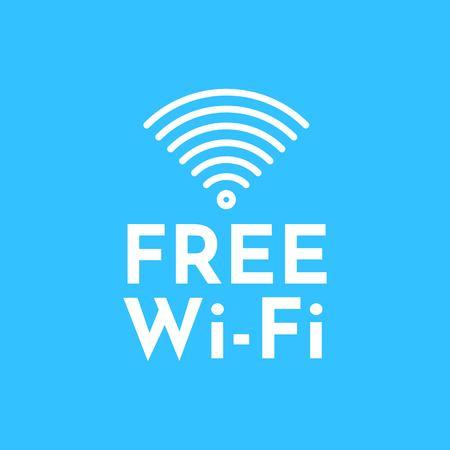 Free WiFi logo icon, wireless local area networking vector illustration Ilustração