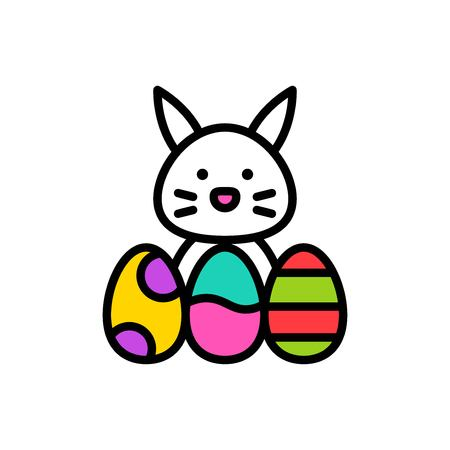 Bunny and Easter egg vector, Easter filled style icon editable stroke
