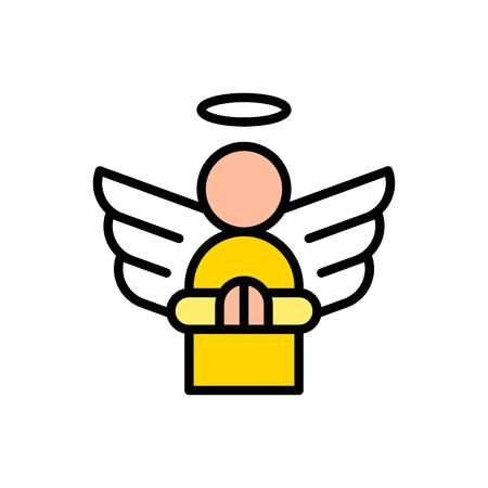 Angel vector, Easter filled style icon editable stroke
