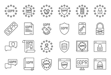 GDPR General Data Protection Regulation vector icon set, line style