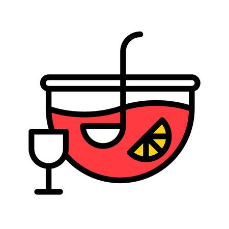 Punch vector, Beverage filled style icon editable stroke