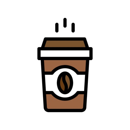 Coffee To Go vector, Beverage filled style icon editable stroke