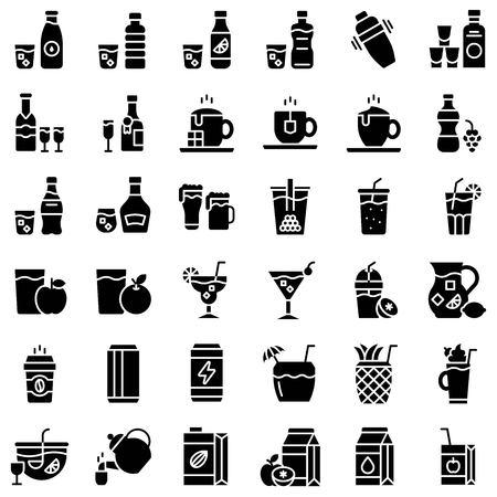 Beverage vector illustration set, solid design icon