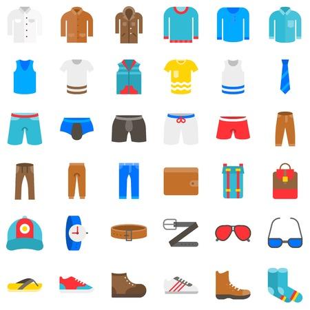 Men Clothing vector icon set, flat design