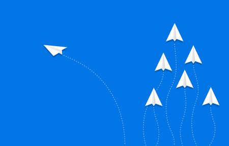 One Paper plane changing direction from group, vector illustration 矢量图像