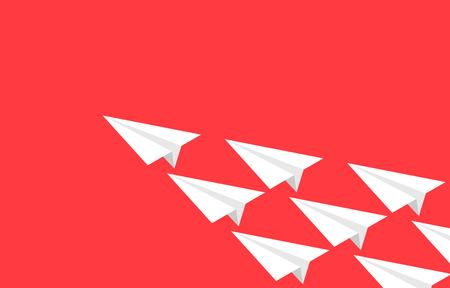 Group of Paper plane flying on red background, vector illustration Illustration