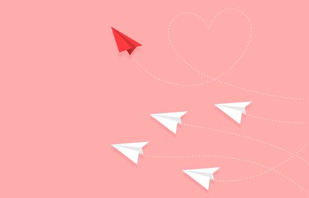 Red Paper plane with heart shape route and paper plane group