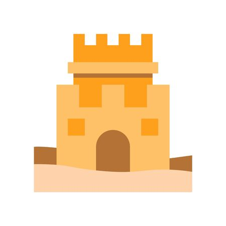 Sand castle vector, Summer Holiday related flat style icon