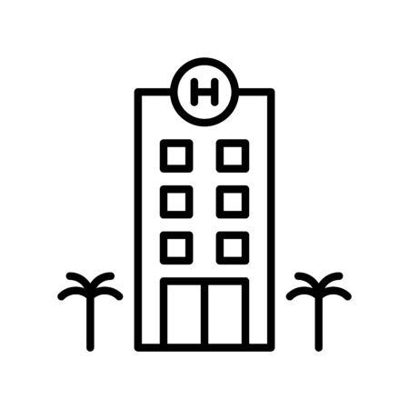 Hotel vector, Summer Holiday related line style icon Ilustração Vetorial