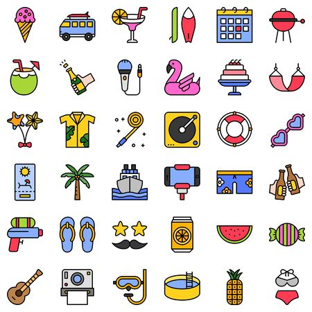 Summer party related vector icon set, filled style  イラスト・ベクター素材