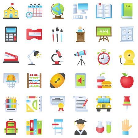Back to school vector icon set, gradient design