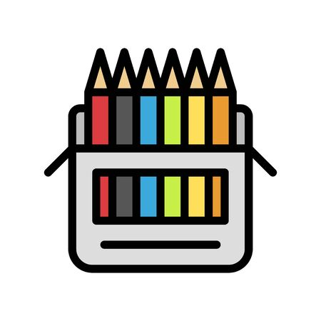 Color pencil vector, Back to school filled style icon Çizim