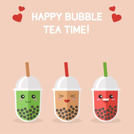 Bubble tea or Pearl milk tea cartoon, vector illustration