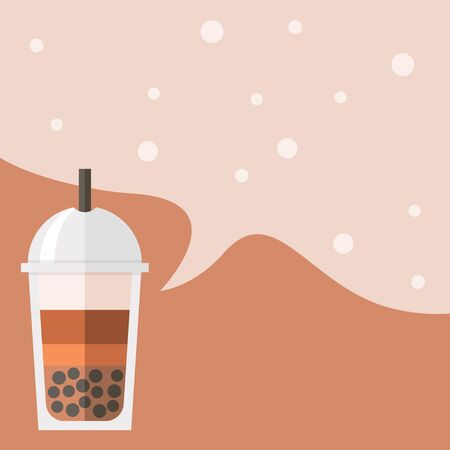 Bubble tea or Pearl milk tea poster template, vector illustration