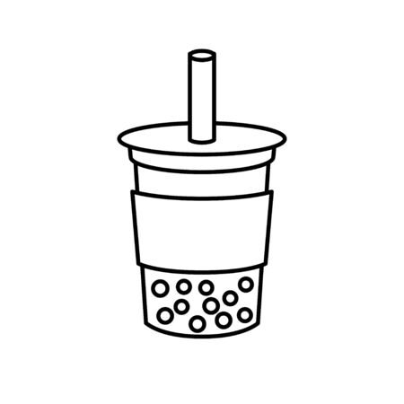 Bubble tea or Pearl milk tea vector, line style