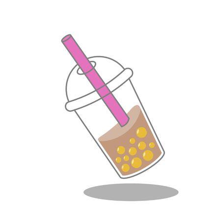 Bubble tea or Pearl milk tea vector illustration