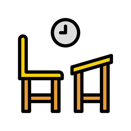 School desk and chair vector, Back to school filled design icon
