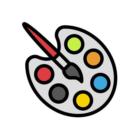 Paintbrush and Palette vector, Back to school filled design icon