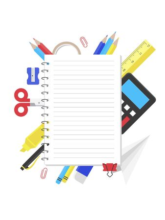 Note paper with school supplies for poster template, vector illustration