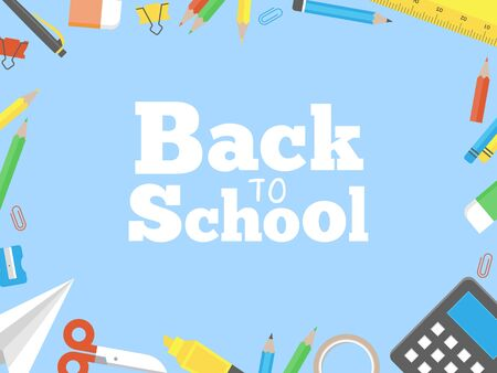 School supplies frame for flyer or poster template, vector illustration
