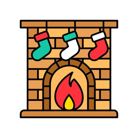 Christmas fireplace vector, Christmas day related filled icon