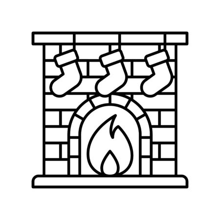 Christmas fireplace vector, Christmas day related line icon Illustration