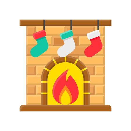 Christmas fireplace vector, Christmas day related flat icon Illustration