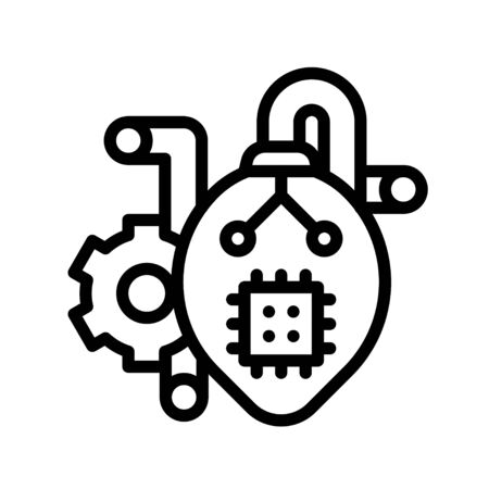 Artificial heart vector illustration, Future technology line design icon