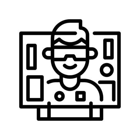 Virtual reality vector illustration, Future technology line design icon