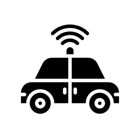 Autonomous vehicle vector illustration, Future technology solid design icon